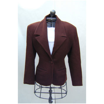 Vintage Bebe Brown Wool Blazer Ladies Jacket 1980s 1990s Power Suit Business Casual Size Small