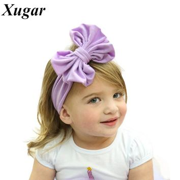 Infant Toddlers Baby Solid Cotton Headband With Handmade Boutique Big Bow For Newborn Children Hair Accessories