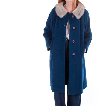 60s Vintage Navy Blue and Silver Mink Fur Coat Camel Peacoat Preppy Retro Mod London Warm Winter Outerwear Clothing Womens Size Large XL