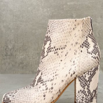 Star Natural Leather Snake Print Ankle Booties