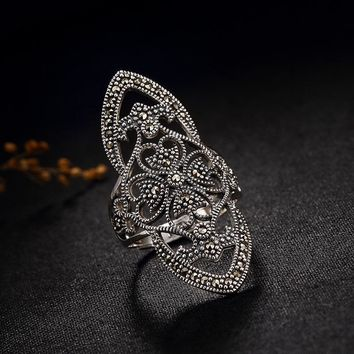 Luxury 100% genuine 925 Sterling Silver Rings For Women Retro vintage MARCASITE S925 silver adjustable open ring jewelry