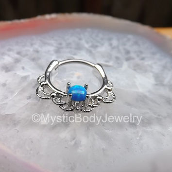 "Septum Ring Clicker 16g Opal 3/8"" 1.2mm Silver Nose Rings Daith Hinged Body Jewelry Pierced Helix Piercings Blue Gem Blue Opals Gemstones"