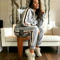 GUCCI Fashion Women Casual Print Zipper Bowknot Sweater Pants Trousers Set Two-Piece Sportswear Grey I/A