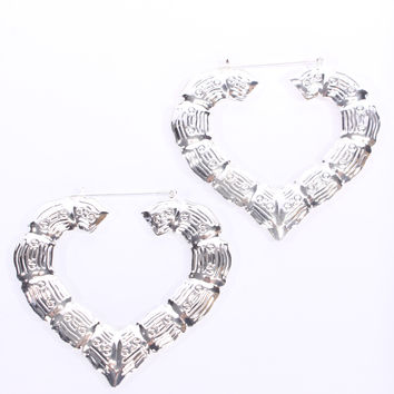 Silver Heart Shape Texture Dangle Medium Earrings