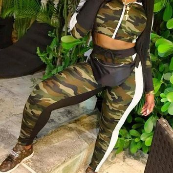 New Army Green Camouflage Zipper Mock Collared Two Piece Casual Long Jumpsuit