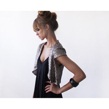 Silver sequin Bolero , Wedding shrug, Bridesmaid bolero, short sleeves Jacket, Glamorous bolero