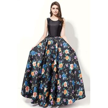 A Line Evening Dress Floor Length Sleeveless Floral Print Evening Gowns Prom Dresses Long