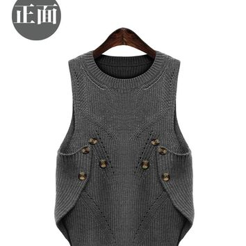Pullover Computer Knitted Limited Fashion O-neck Pull Sweater Large Size Women Vest Hitz 2016 Fat Mm Loose Irregular Head Warm