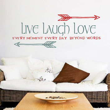 Arrow Wall Decal Quote Live Laugh Love Decal Inspirational Quote Vinyl Sticker Tribal Wall Art Home Boho Design Bohemian Bedroom Decor KI135