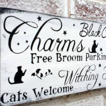 Halloween typography sign, Halloween Witch, Halloween signs, black cats witching hour free broom parking, fun Halloween decoration, party