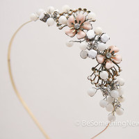 vintage pink flowers and beads headband, women hair accesory headband