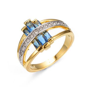 Unique Design Hollow Rings For Women Men Antique Yellow Gold Filled Blue Zircon Ring Party Friendship Christmas Gift RY0252