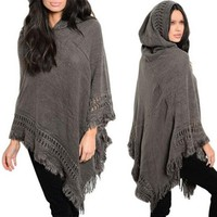 Women Cloak Sweaters Knit Bat wing Poncho With Hood Cape Coat