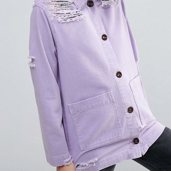 ASOS Distressed Shacket at asos.com