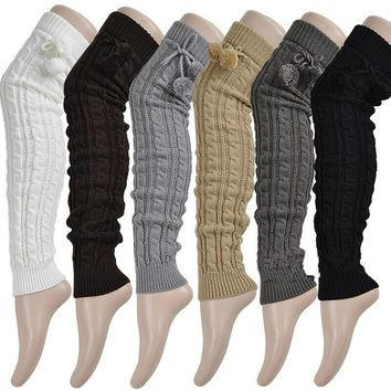 2017 Fashion Women's Winter Crochet Knitted Stocking Footless Leg Warmers Boot Thigh High Stockings Free shipping