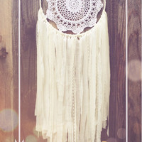 Off White Shabby Chic Lace Crochet Doily Boho Hippie Gypsy Nursery Decor Dreamcatcher