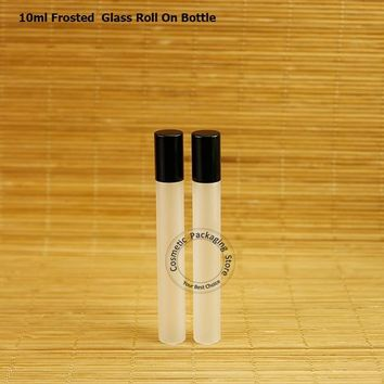 20pcs/Lot  Glass 10ml Empty Essential Oil Roll on Bottles  Frosted Perfume Containers Refillable Cosmetic Packaging from China