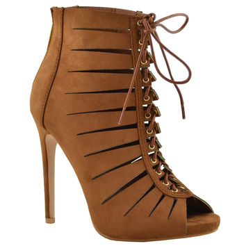 Womens Dress Shoes Cutout Ankle Booties Crisscrossed Lace Tan