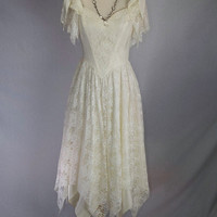 Vintage Ivory Lace Fairy Hem Dress Wedding Prom 80s Angel