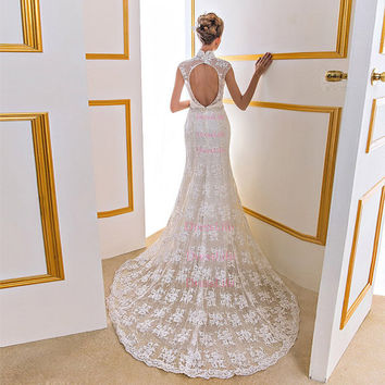 High Neckline Cap Sleeves Lace Appliques Cut Out Back Court Train beach Wedding/Long Wedding Dresses/Wedding Gown/Bridal Dresses/X108