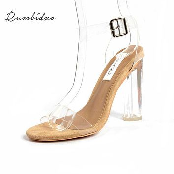 Rumbidzo  PVC size 35-43 Jelly Sandals Open Toe High Heels Women Transparent Perspex Slippers Thick Heel Clear Sandalias