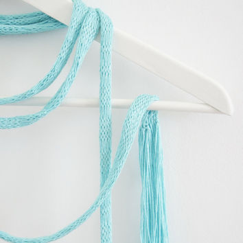 Turquoise Extra Long Skinny Scarf with Fringe, Summer Dressy Scarf, Knit Spring Summer Scarf