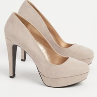 Taupe Faux Suede Pumps By Qupid