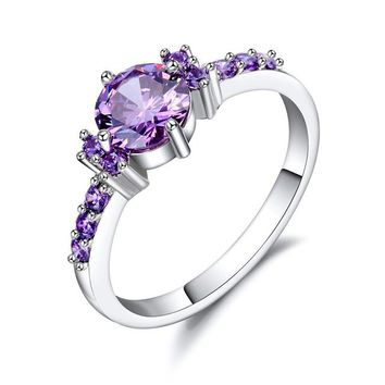 White Gold Color Rings For Women Purple AAA Zircon Jewelry Engagement Wedding Size 5 6 7 8 9 10#