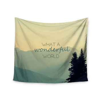 "Robin Dickinson ""What A Wonderful World"" Teal Tan Wall Tapestry"