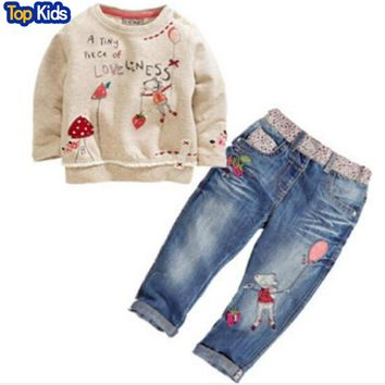 2017 New Arrival Toddler Cute Baby Girl 2pcs Children Sets Long Sleeve Tops+ Jeans Children Sets Autumn Outfits CCS191