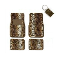 A Set of 4 Universal Fit Animal Print Carpet Floor Mats for Cars / Truck and 1 Key Fob - Leopard Tan