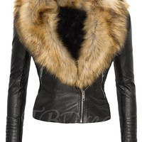 Wide Faux Fur Lapel Zip Up Slim Women's Jacket - m.tbdress.com