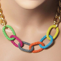 "Hello Summer Necklace Big Links Chain Colorful Necklace 16"" with 2"" Extender Chain"