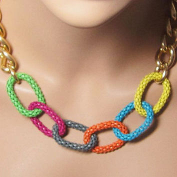 """Hello Summer Necklace Big Links Chain Colorful Necklace 16"""" with 2"""" Extender Chain"""