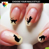 cat silhouette,  kitten, cat, puppy, 75 nail transfer,  crystal clear background, different  size