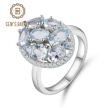 Gem's Ballet Natural Sky Blue Topaz Rings Genuine 100% 925 Sterling Silver Vintage Fashion Jewelry For Women Wedding Engagement
