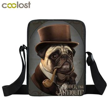 Pug in a top hat steampunk bag