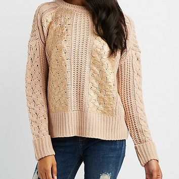 Metallic Foil-Detail Pullover Sweater | Charlotte Russe