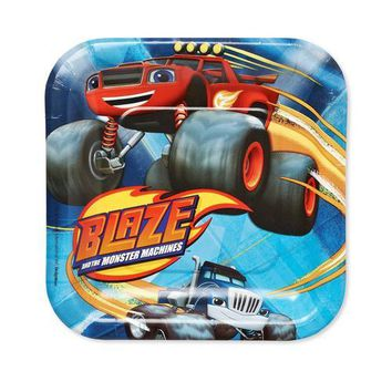 Blaze and the Monster Machines Square Plates [7 Inches - 8 Per Pack]
