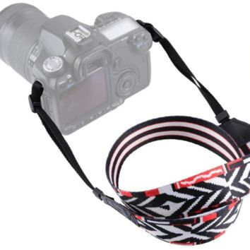 Black White Red Diamond Pattern Camera Strap Photographers Gift - CAST58