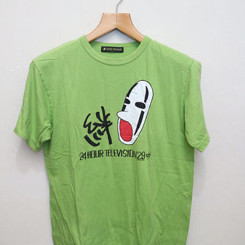 Vintage 24HOUR TELEVISION T Shirt Light Green Color Size L