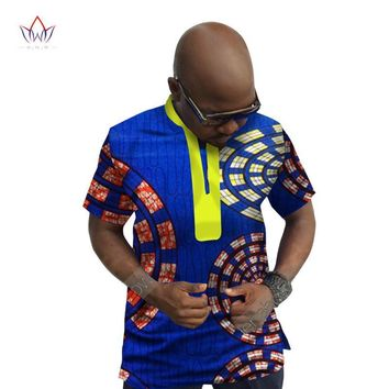 African Print Men Shirt Dashiki Plus Size Short Sleeve