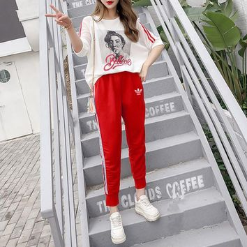 """Adidas"" Women Casual Fashion Girl Letter Pattern Print Stripe Short Sleeve T-shirt  Trousers Set Two-Piece Sportswear"