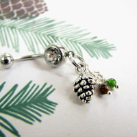 Silver Pine Cone Belly Button Ring with Jade and Tiger Eye Gemstone Beads