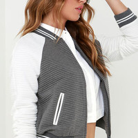 Ballpark Babe Grey and White Baseball Jacket