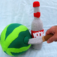 art plush Vodka spiked watermelon with liquor bottle and fake knife