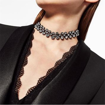 Women Temperament Diamond Chocker Necklace Clavicle Chain Fashion Accessories