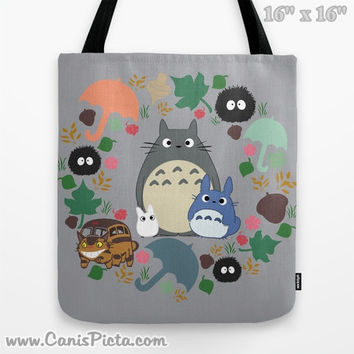Totoro Kawaii My Neighbor 13x13 Graphic Tote Bag Anime Soot Sprite Gremlin  Catbus Grey Blue White 21c9b0007