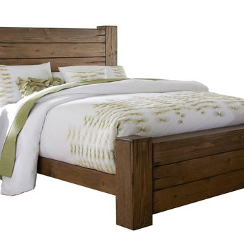 Maverick Rustic Queen Panel Complete Bed Driftwood