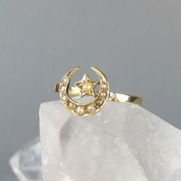 victorian crescent moon and star antique conversion ring pearl and gold ring unique
